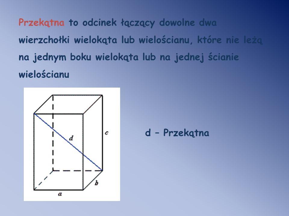 Przekątna to odcinek łączący dowolne dwa wierzchołki wielokąta lub wielościanu, które nie leżą na jednym boku wielokąta lub na jednej ścianie wielościanu
