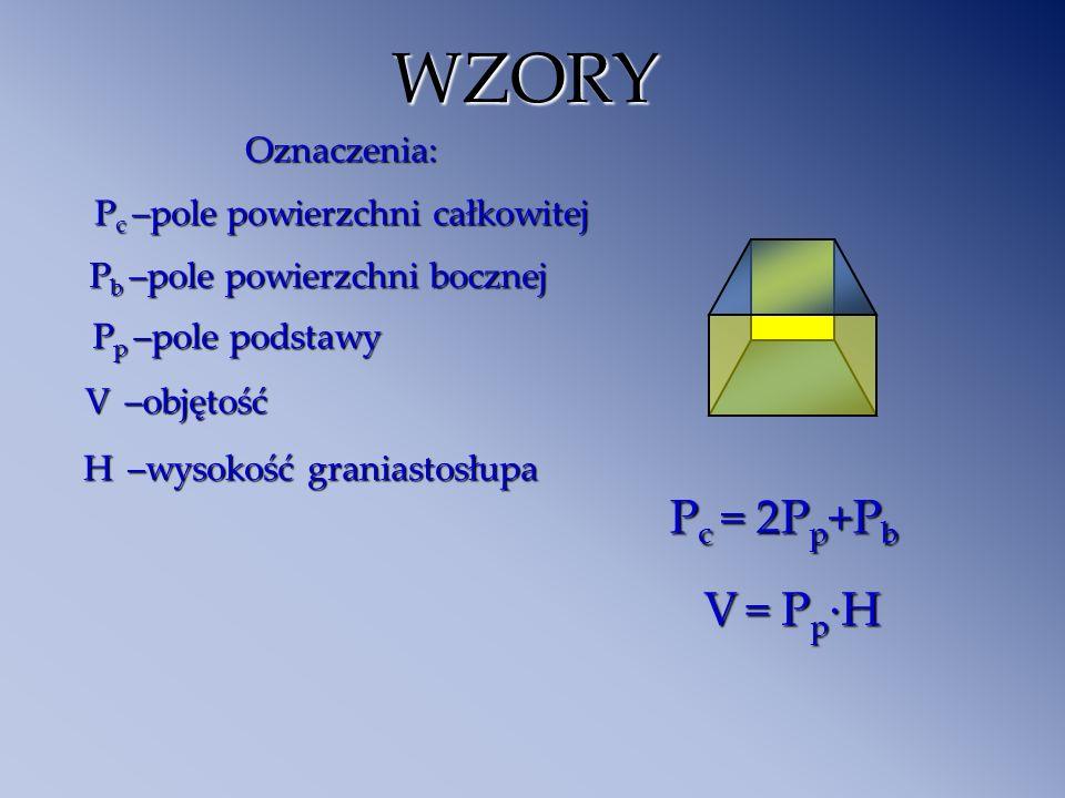 WZORY Pc = 2Pp+Pb V = Pp·H Oznaczenia: Pc –pole powierzchni całkowitej