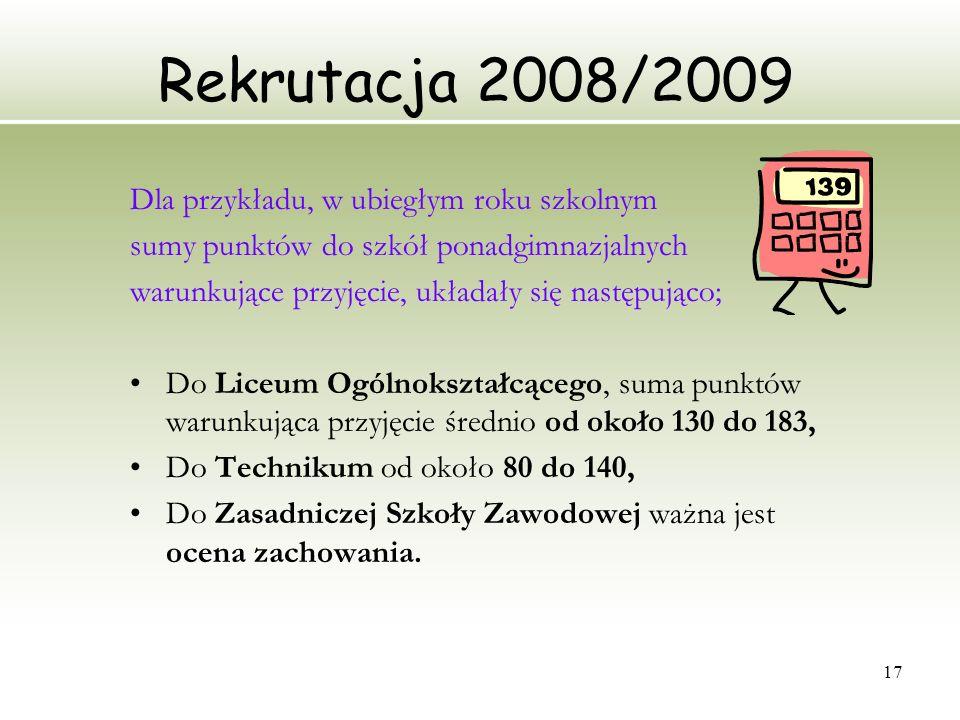 Rekrutacja 2008/2009 Dla przykładu, w ubiegłym roku szkolnym