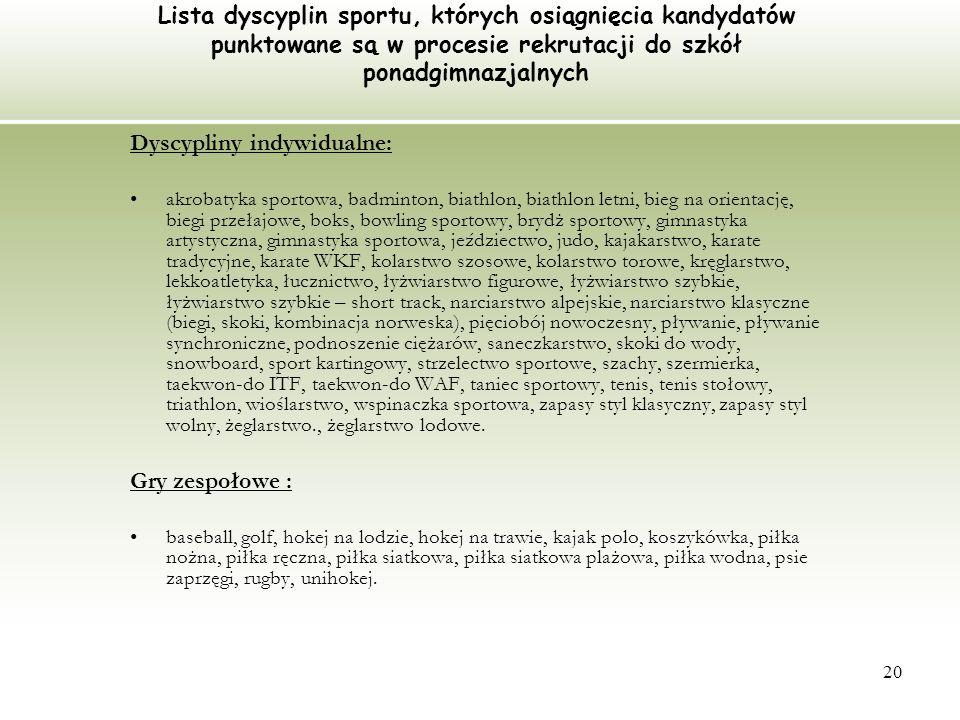 Dyscypliny indywidualne: