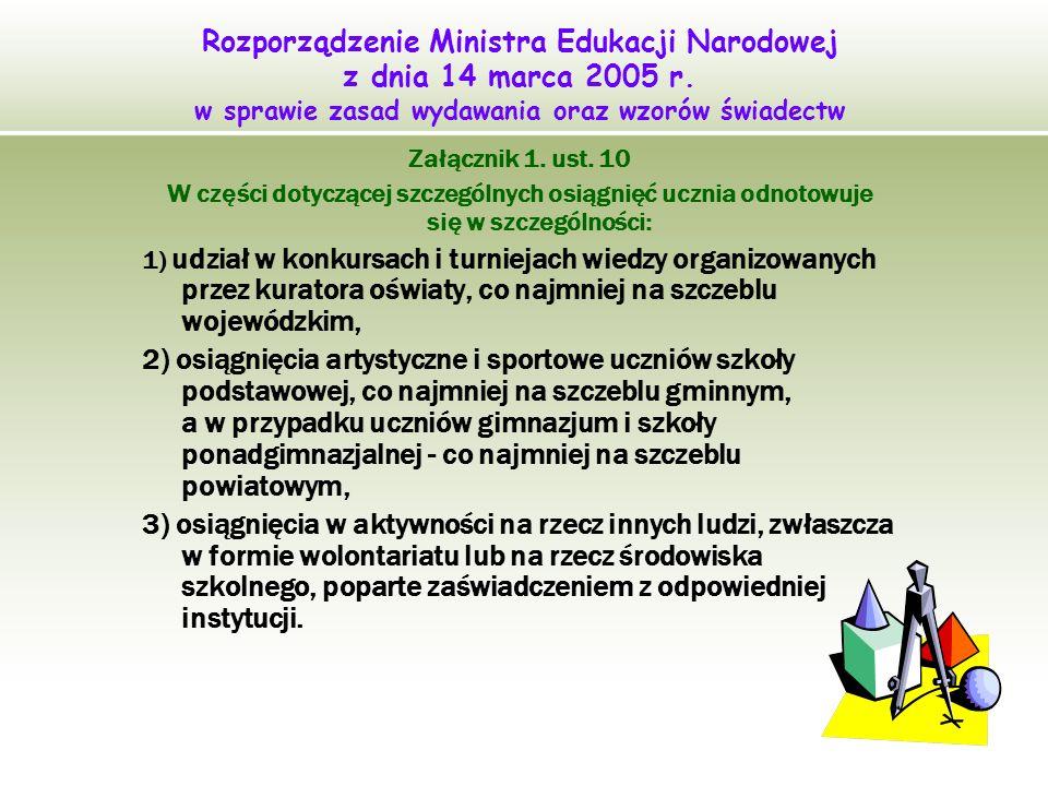 Rozporządzenie Ministra Edukacji Narodowej z dnia 14 marca 2005 r