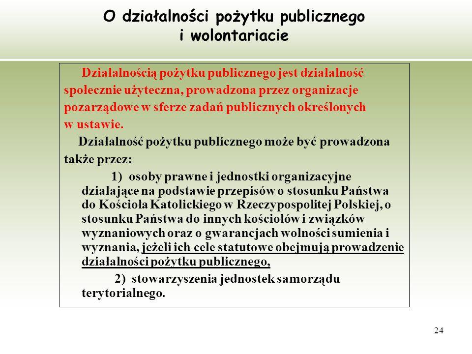 O działalności pożytku publicznego i wolontariacie