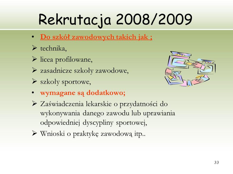 Rekrutacja 2008/2009 Do szkół zawodowych takich jak ; technika,