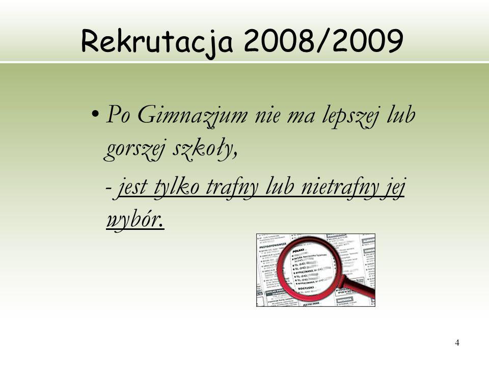 Rekrutacja 2008/2009 Po Gimnazjum nie ma lepszej lub gorszej szkoły,