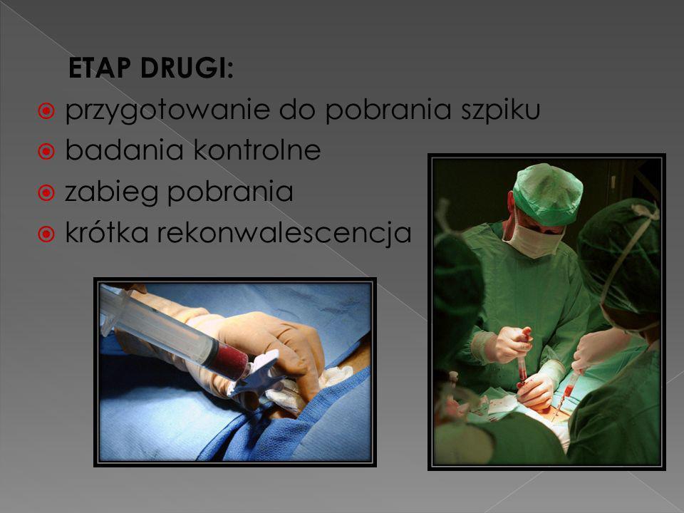 ETAP DRUGI: przygotowanie do pobrania szpiku. badania kontrolne.