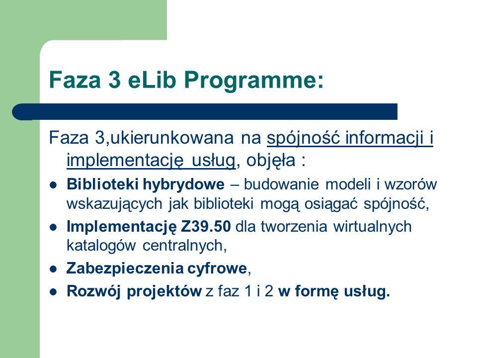 Faza 3 eLib Programme: Faza 3,ukierunkowana na spójność informacji i implementację usług, objęła :