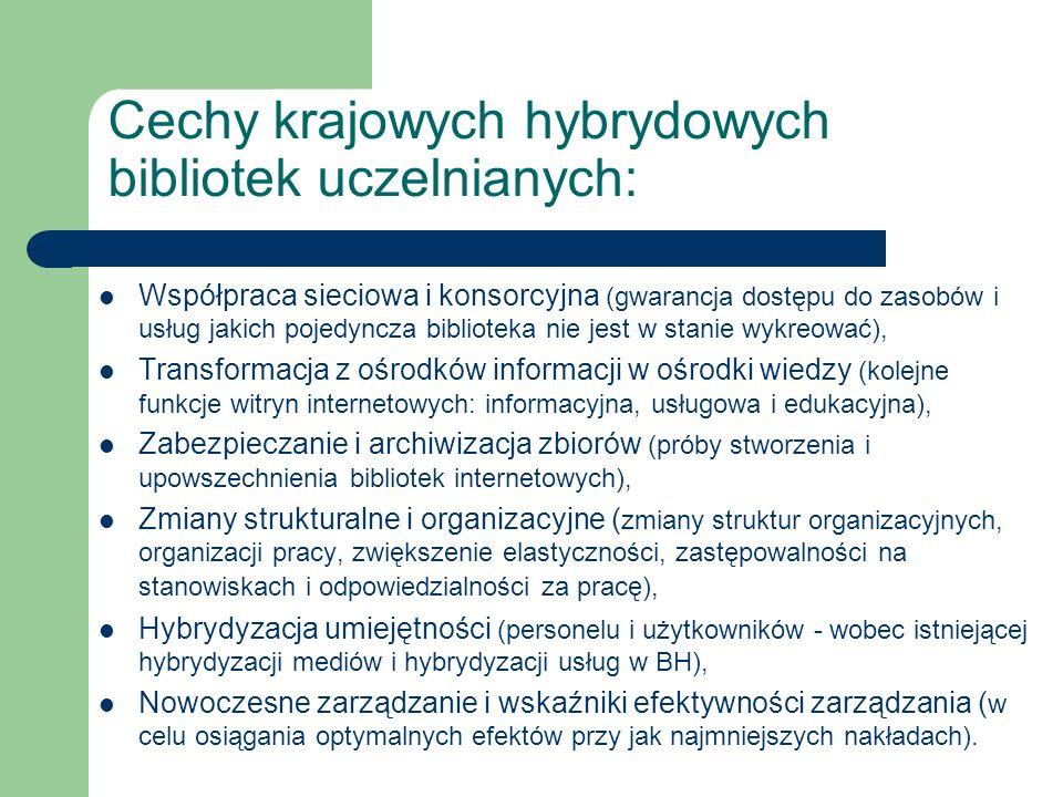 Cechy krajowych hybrydowych bibliotek uczelnianych: