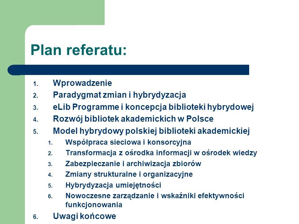 Plan referatu: Wprowadzenie Paradygmat zmian i hybrydyzacja