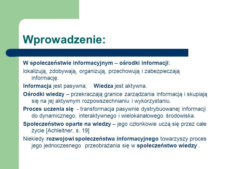 Wprowadzenie: W społeczeństwie informacyjnym – ośrodki informacji: