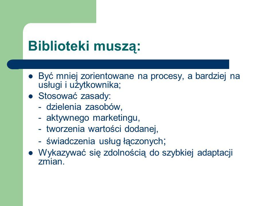 Biblioteki muszą: Być mniej zorientowane na procesy, a bardziej na usługi i użytkownika; Stosować zasady:
