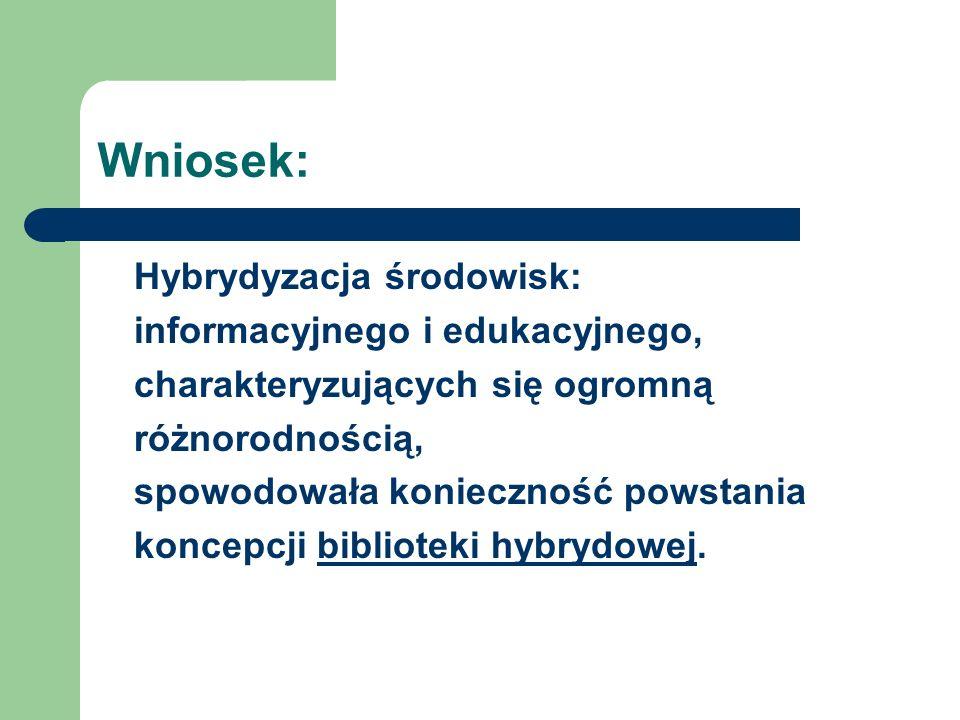Wniosek: Hybrydyzacja środowisk: informacyjnego i edukacyjnego,
