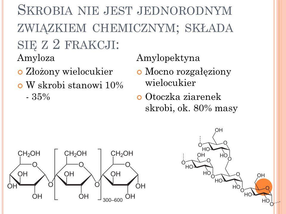 Skrobia nie jest jednorodnym związkiem chemicznym; składa się z 2 frakcji: