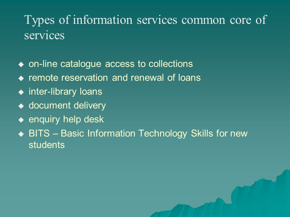 Types of information services common core of services