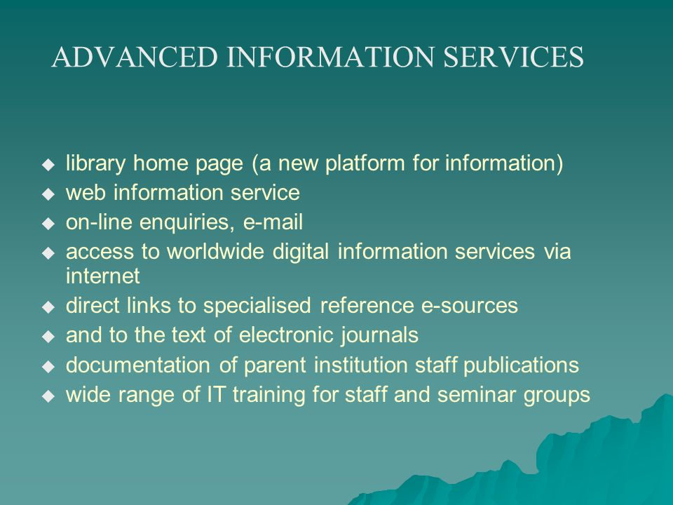 ADVANCED INFORMATION SERVICES