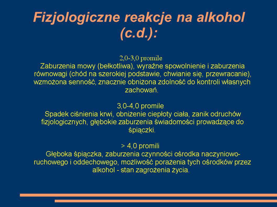 Fizjologiczne reakcje na alkohol (c.d.):