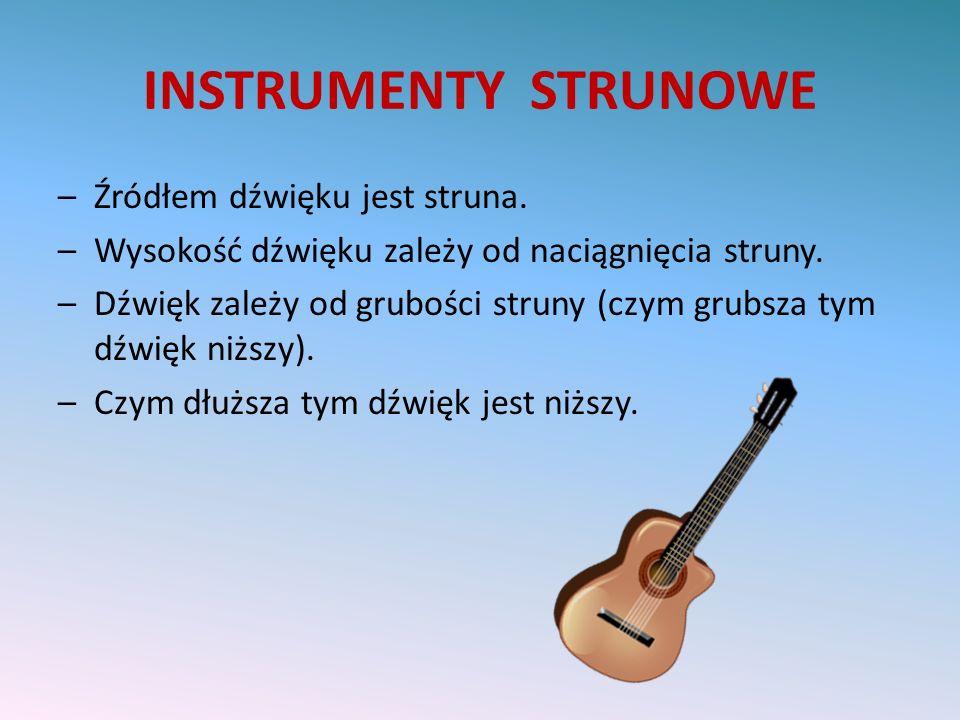 INSTRUMENTY STRUNOWE Źródłem dźwięku jest struna.