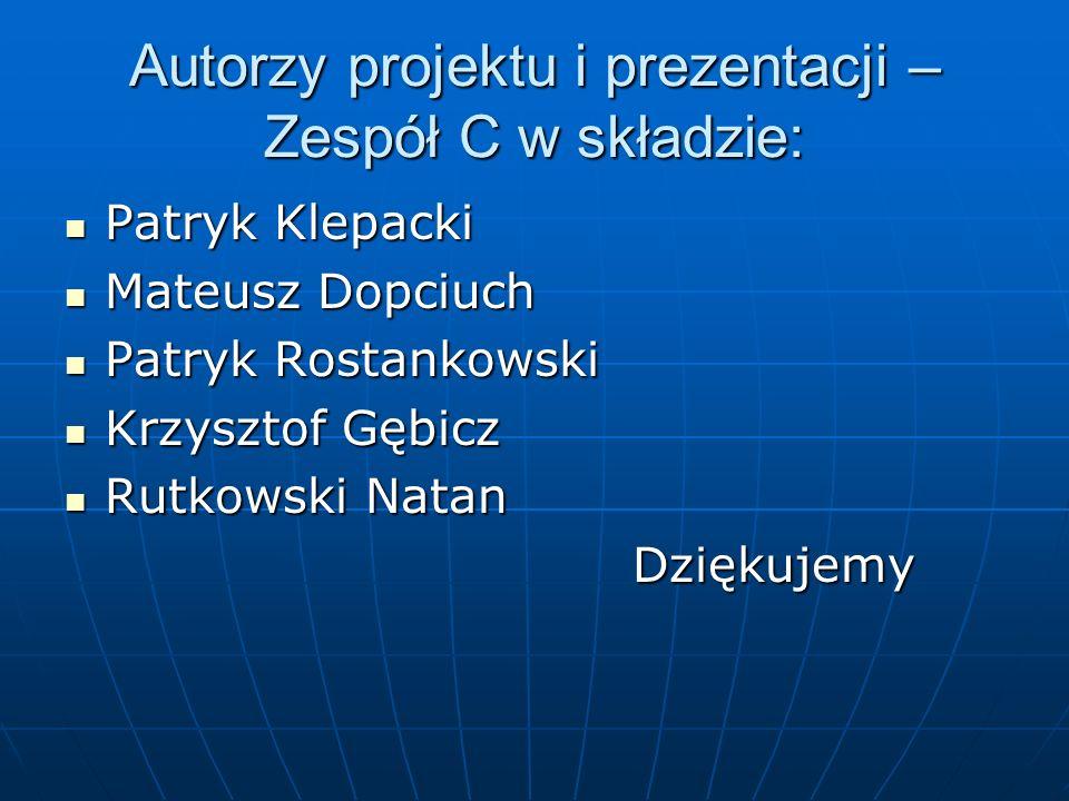 Autorzy projektu i prezentacji – Zespół C w składzie: