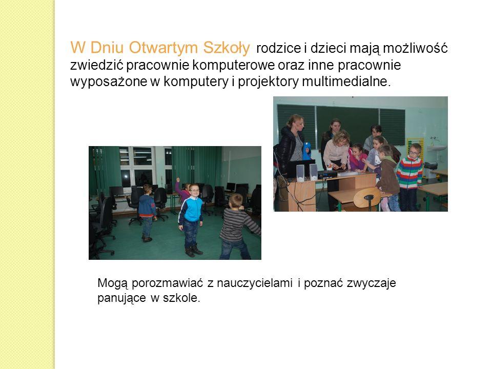 W Dniu Otwartym Szkoły rodzice i dzieci mają możliwość zwiedzić pracownie komputerowe oraz inne pracownie wyposażone w komputery i projektory multimedialne.