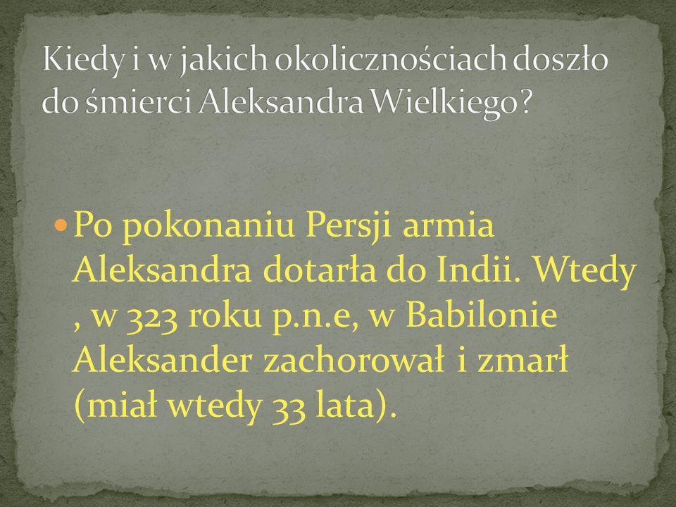 Kiedy i w jakich okolicznościach doszło do śmierci Aleksandra Wielkiego