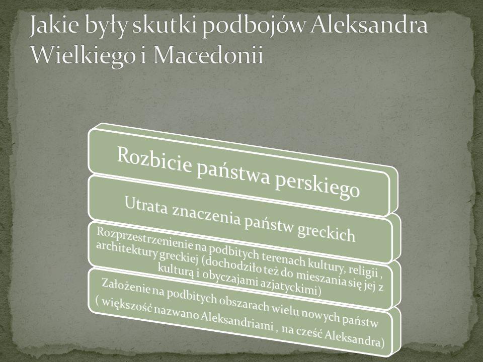 Jakie były skutki podbojów Aleksandra Wielkiego i Macedonii