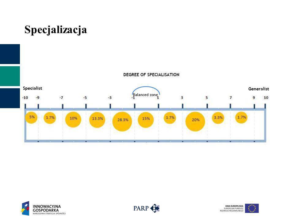 Specjalizacja 58.3% to parki wyspecjalizowane. Parki so so – 15%. Parki ogólne – 26.7%.