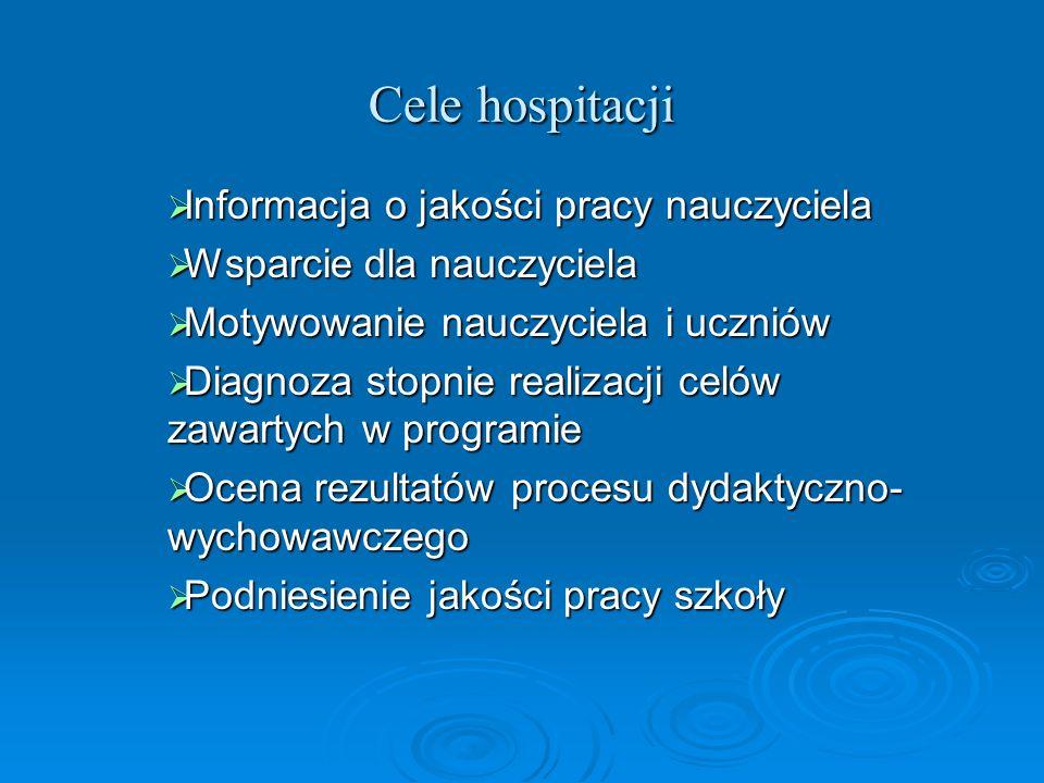 Cele hospitacji Informacja o jakości pracy nauczyciela