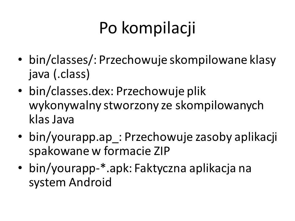 Po kompilacji bin/classes/: Przechowuje skompilowane klasy java (.class)