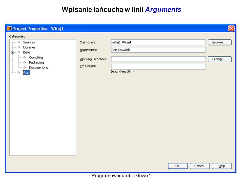 Wpisanie łańcucha w linii Arguments