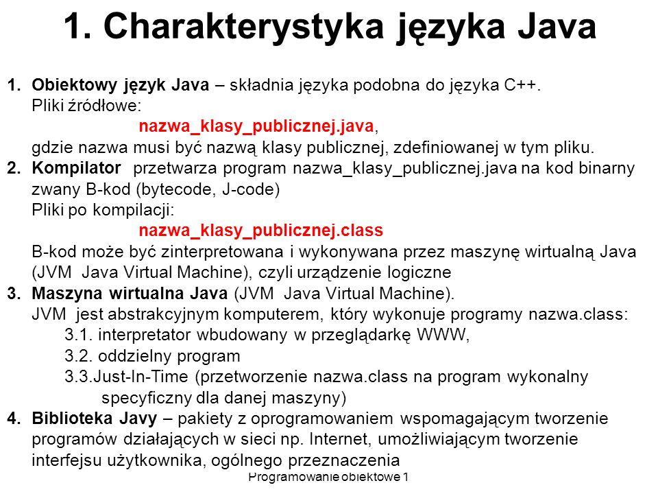 1. Charakterystyka języka Java