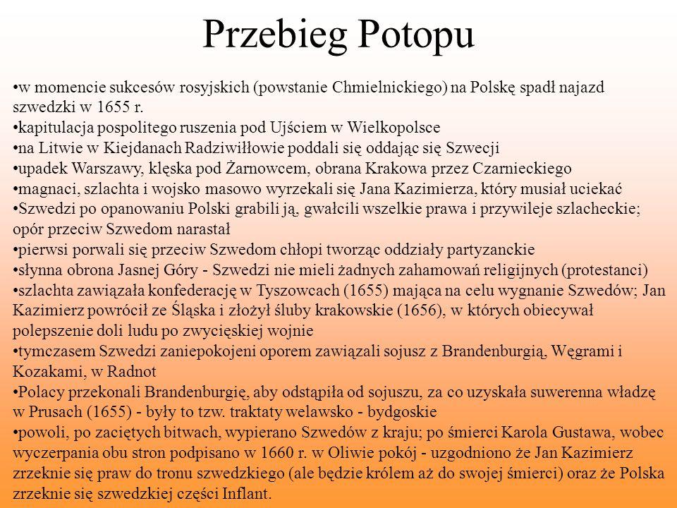 Przebieg Potopu w momencie sukcesów rosyjskich (powstanie Chmielnickiego) na Polskę spadł najazd szwedzki w 1655 r.