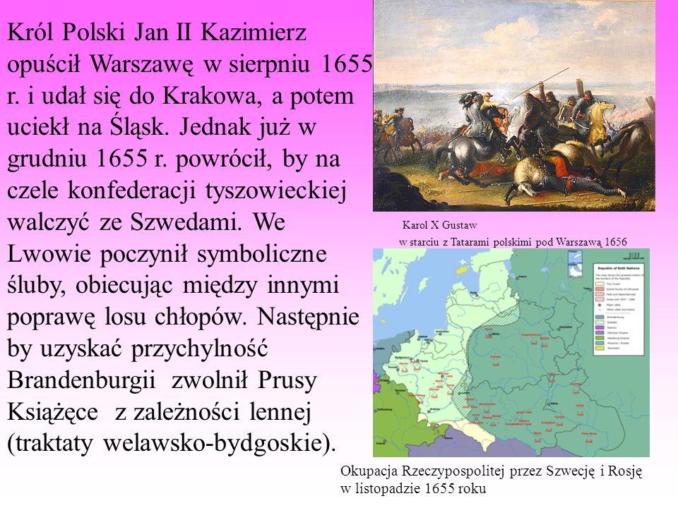 Król Polski Jan II Kazimierz opuścił Warszawę w sierpniu 1655 r