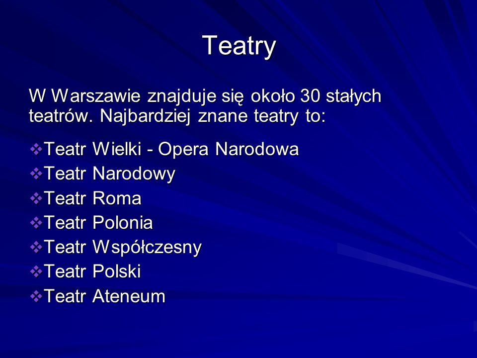 Teatry W Warszawie znajduje się około 30 stałych teatrów. Najbardziej znane teatry to: Teatr Wielki - Opera Narodowa.