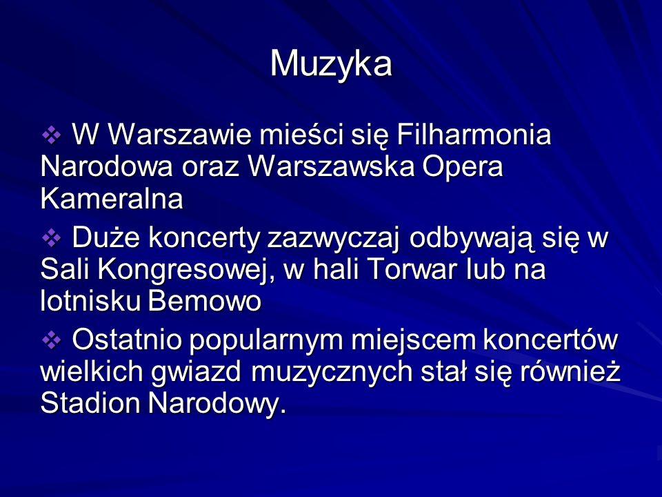 Muzyka W Warszawie mieści się Filharmonia Narodowa oraz Warszawska Opera Kameralna.