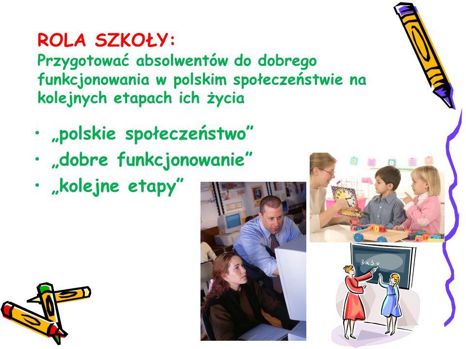 ROLA SZKOŁY: Przygotować absolwentów do dobrego funkcjonowania w polskim społeczeństwie na kolejnych etapach ich życia