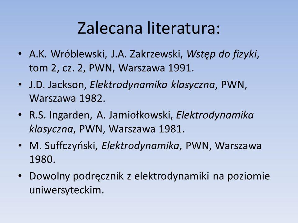 Zalecana literatura: A.K. Wróblewski, J.A. Zakrzewski, Wstęp do fizyki, tom 2, cz. 2, PWN, Warszawa 1991.