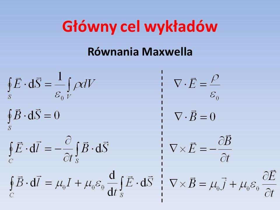 Główny cel wykładów Równania Maxwella