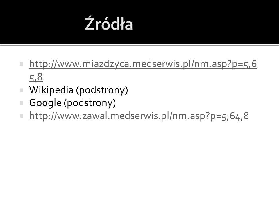 Źródła http://www.miazdzyca.medserwis.pl/nm.asp p=5,65,8