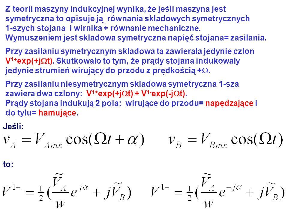 Z teorii maszyny indukcyjnej wynika, że jeśli maszyna jest symetryczna to opisuje ją równania skladowych symetrycznych