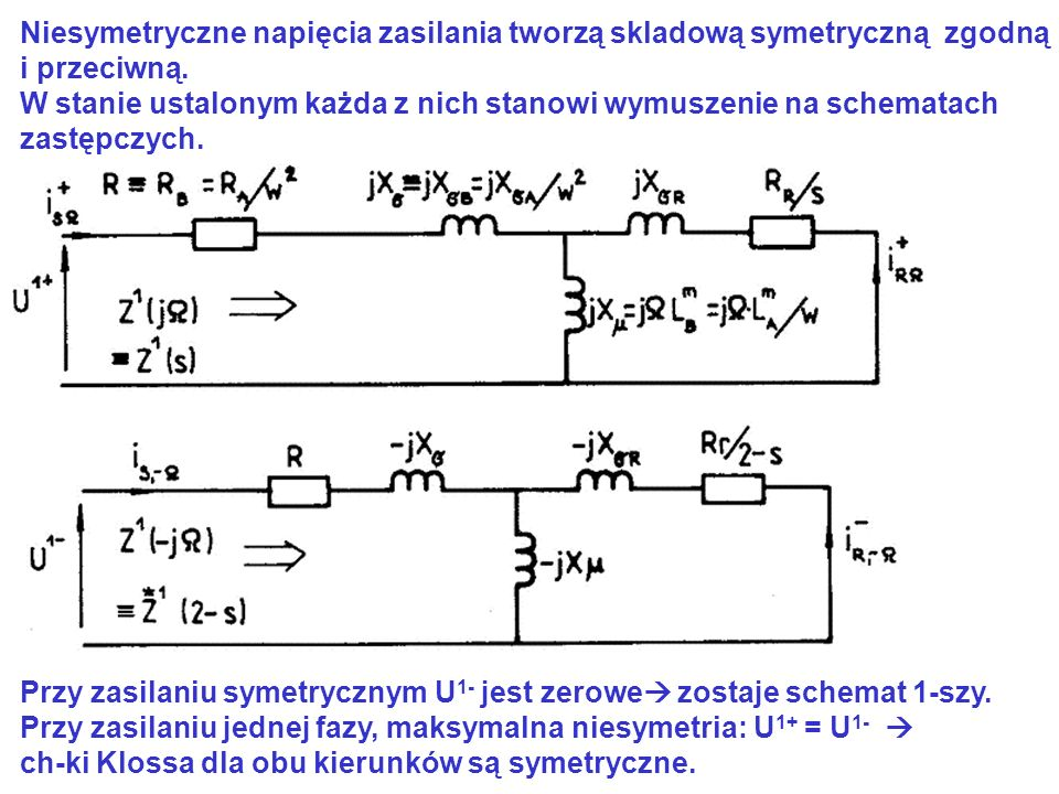 Niesymetryczne napięcia zasilania tworzą skladową symetryczną zgodną