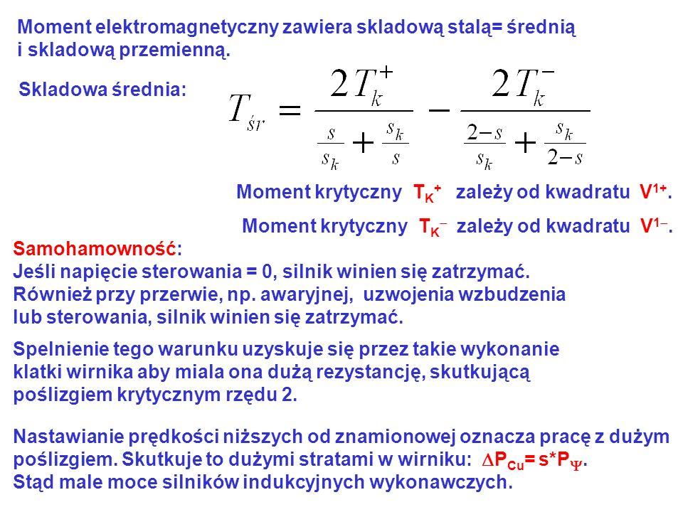 Moment elektromagnetyczny zawiera skladową stalą= średnią