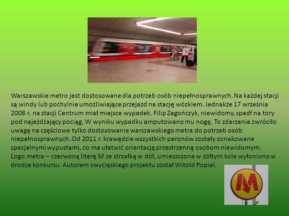 Warszawskie metro jest dostosowane dla potrzeb osób niepełnosprawnych