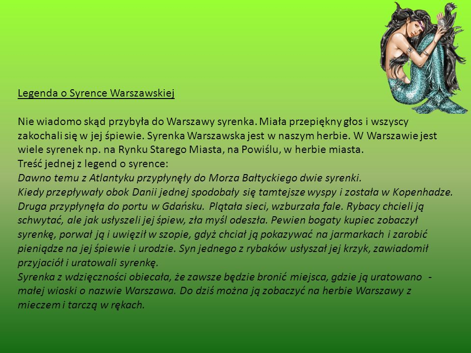 Legenda o Syrence Warszawskiej.