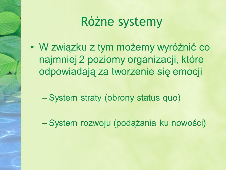 Różne systemy W związku z tym możemy wyróżnić co najmniej 2 poziomy organizacji, które odpowiadają za tworzenie się emocji.