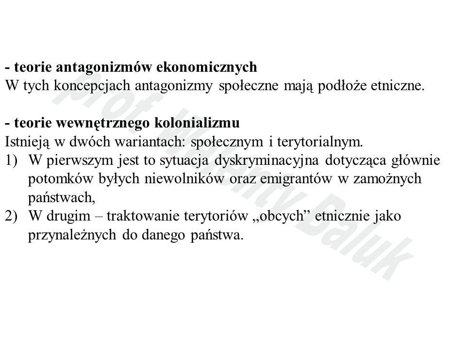 - teorie antagonizmów ekonomicznych