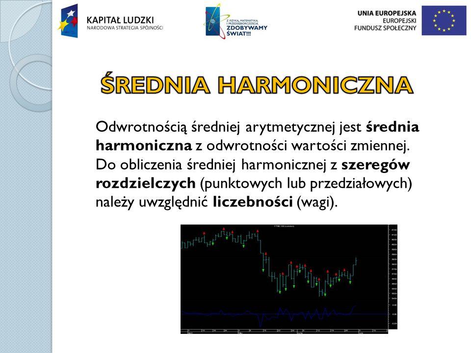 ŚREDNIA HARMONICZNA Odwrotnością średniej arytmetycznej jest średnia harmoniczna z odwrotności wartości zmiennej.