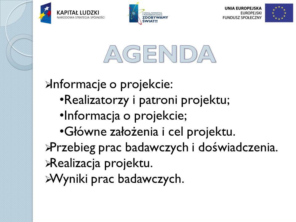AGENDA Informacje o projekcie: Realizatorzy i patroni projektu;