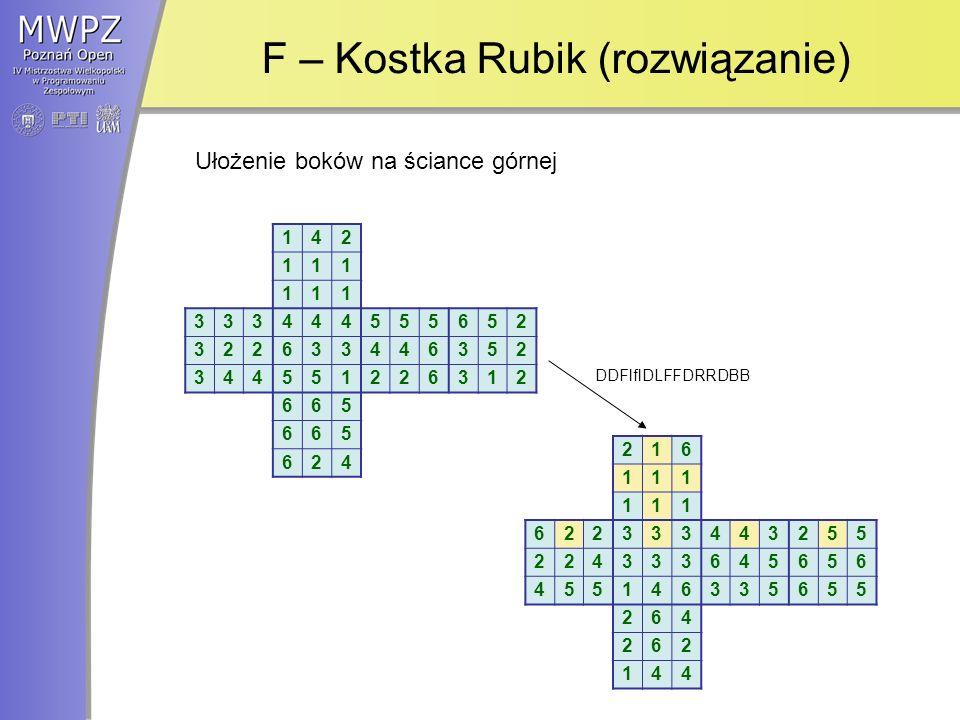 F – Kostka Rubik (rozwiązanie)