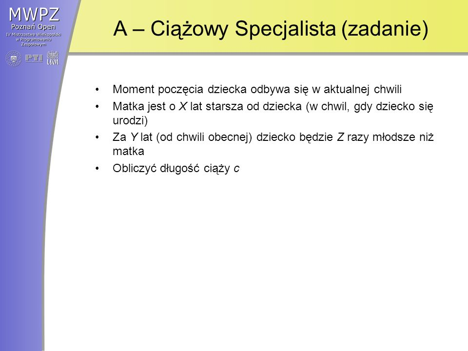 A – Ciążowy Specjalista (zadanie)