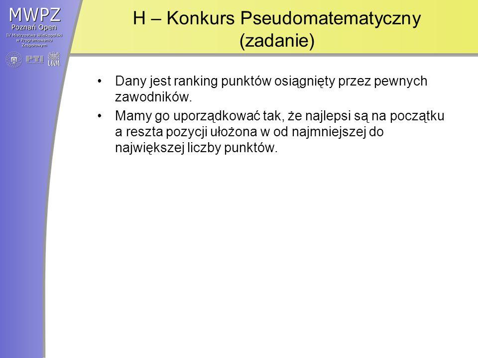 H – Konkurs Pseudomatematyczny (zadanie)