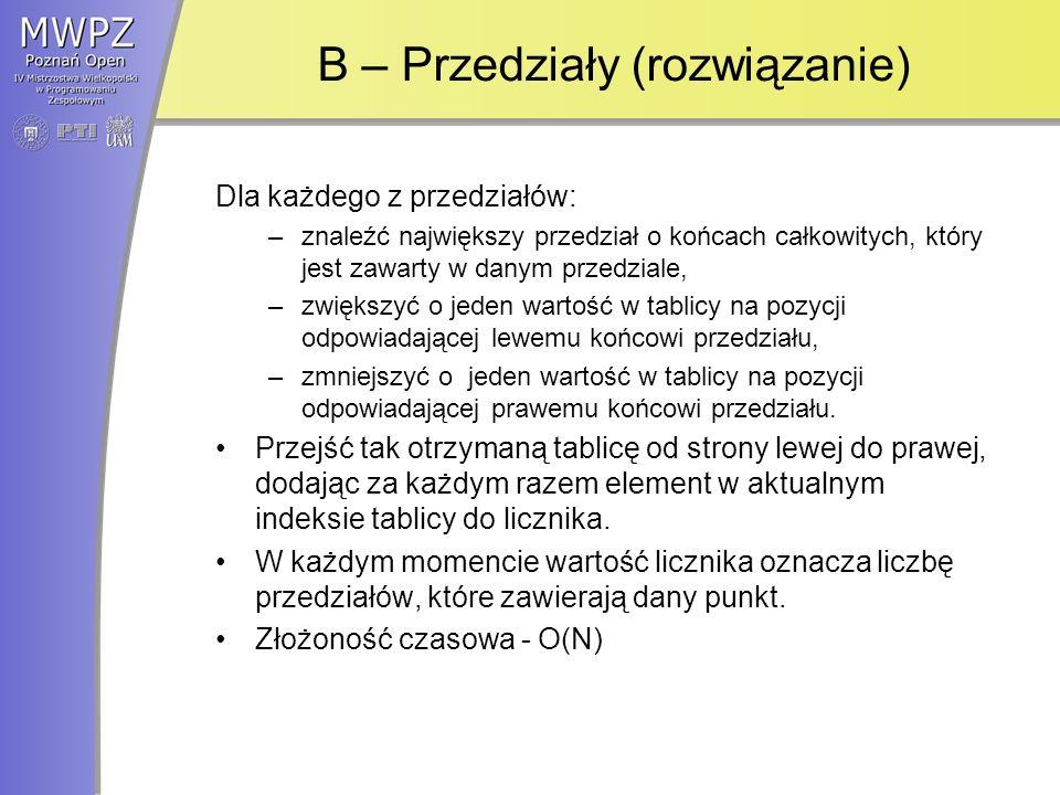 B – Przedziały (rozwiązanie)